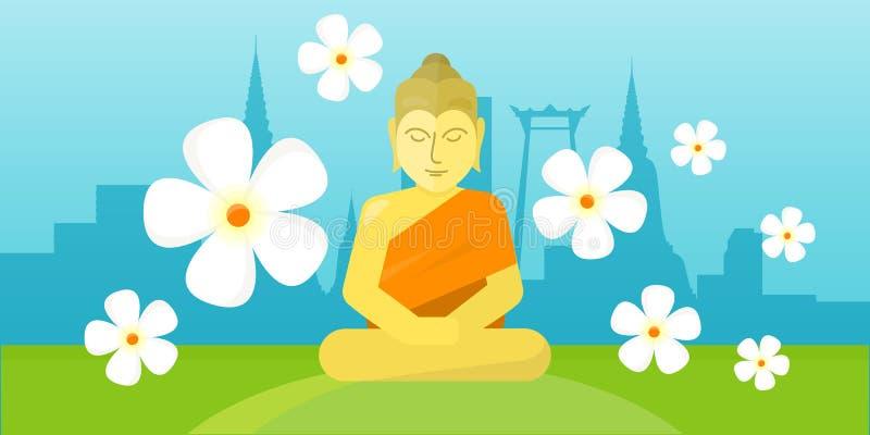 Ο ταϊλανδικός Θεός Βούδας κάθεται στο λιβάδι πέρα από το τοπίο πόλεων απεικόνιση αποθεμάτων