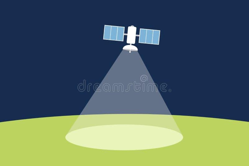 Ο τεχνητός δορυφόρος στο διάστημα και τον κόσμο εκπέμπει το σήμα στο έδαφος ελεύθερη απεικόνιση δικαιώματος
