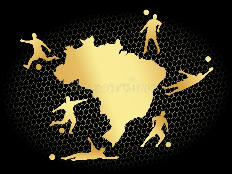 Ο τομέας γηπέδου ποδοσφαίρου ποδοσφαίρου με τις σκιαγραφίες φορέων έθεσε στο χρυσό επίπεδο υπόβαθρο χαρτών της Βραζιλίας ελεύθερη απεικόνιση δικαιώματος