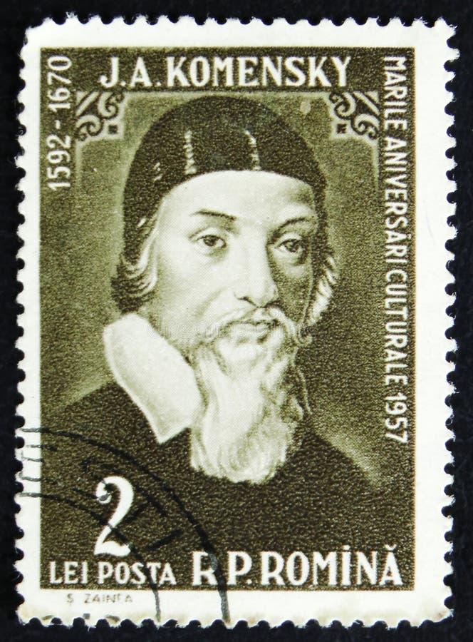 Ο τον Ιαν. του Amos Komensky John Amos Comenius, τσεχικός φιλόσοφος, παιδαγωγός και θεολόγος, circa 1958 στοκ φωτογραφίες