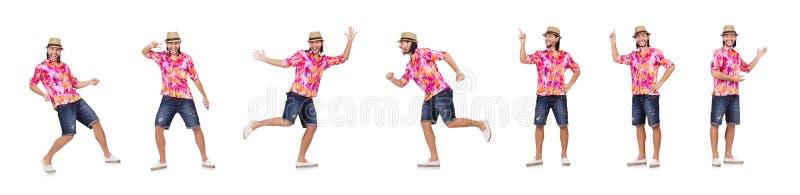 Ο τουρίστας που απομονώνεται αστείος στο λευκό στοκ εικόνα