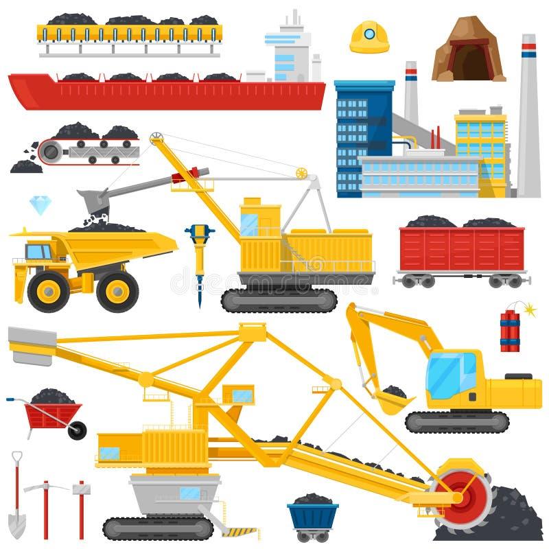 Ο του άνθρακα διανυσματικά βιομηχανικά εξοπλισμός ή τα μηχανήματα στο ορυχείο τροφοδοτεί το σύνολο απεικόνισης σκόνης άνθρακα βαρ διανυσματική απεικόνιση