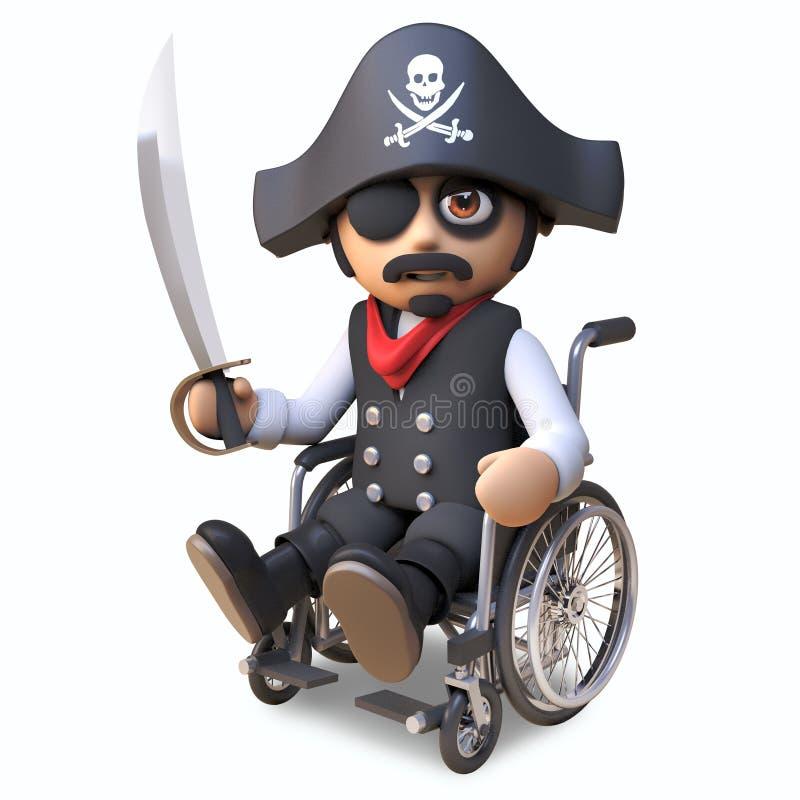 Ο τραυματισμένος εμποροπλοίαρχος πειρατών στο κρανίο και crossbones το καπέλο και eyepatch κάθεται σε μια αναπηρική καρέκλα κρατώ ελεύθερη απεικόνιση δικαιώματος