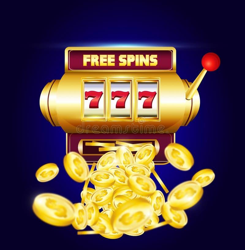 777 ο τρισδιάστατος αυτόματος πωλητής με μεγάλο κερδίζει τα νομίσματα και την επιγραφή διανυσματική απεικόνιση