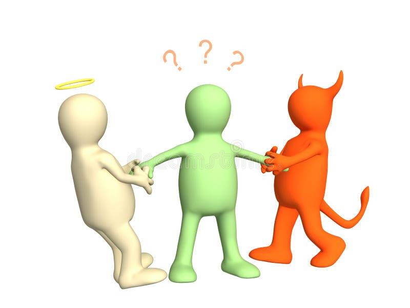 ο τρισδιάστατος διάβολος αγγέλου δίνει το τράβηγμα προσώπων διανυσματική απεικόνιση