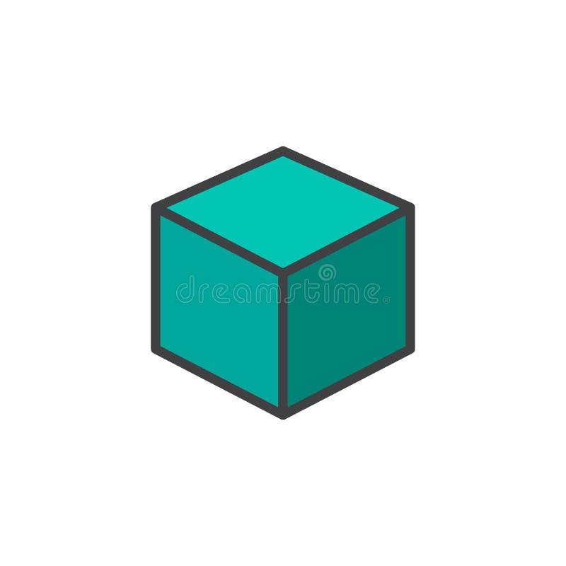 ο τρισδιάστατος κύβος γέμισε το εικονίδιο περιλήψεων απεικόνιση αποθεμάτων