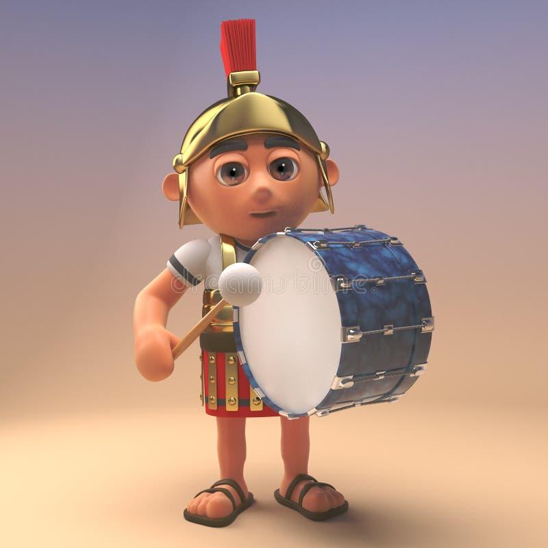 ο τρισδιάστατος ρωμαϊκός στρατιώτης λεγεωναρίων στο τεθωρακισμένο κρατά την πορεία κτύπησε με μια πέρκα παίζει τύμπανο την τρισδι απεικόνιση αποθεμάτων