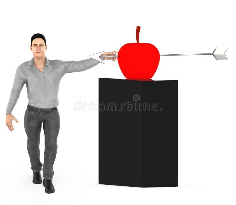 ο τρισδιάστατος χαρακτήρας, το άτομο και ένα μήλο με ένα βέλος χτυπούν στο κέντρο του διανυσματική απεικόνιση