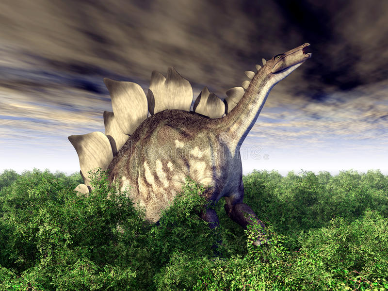 ο τρισδιάστατος δεινόσαυρος ψαλιδίσματος πέρα από το μονοπάτι δίνει το λευκό stegosaurus σκιών απεικόνιση αποθεμάτων
