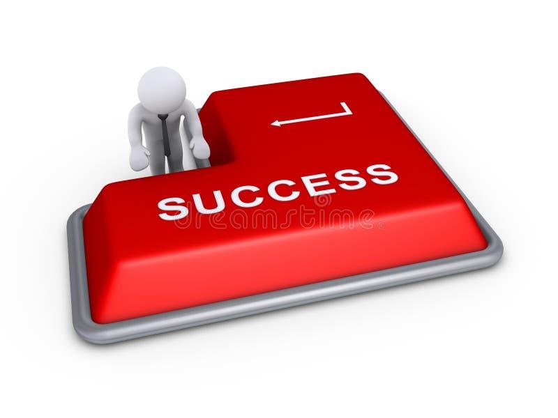 Επιχειρηματίας για να πιέσει περίπου το κουμπί επιτυχίας ελεύθερη απεικόνιση δικαιώματος