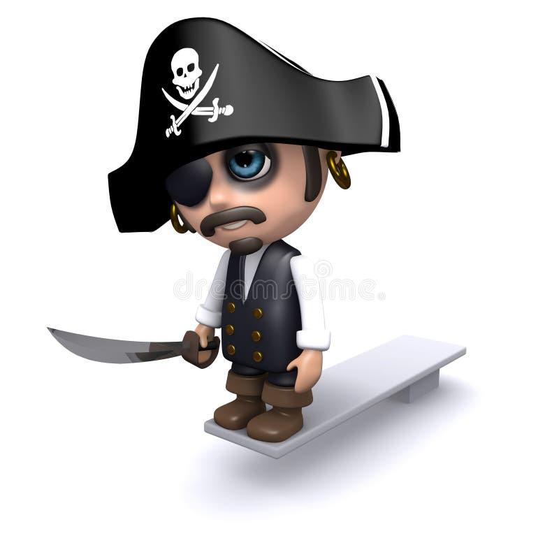 ο τρισδιάστατος πειρατής περπατά τη σανίδα ελεύθερη απεικόνιση δικαιώματος