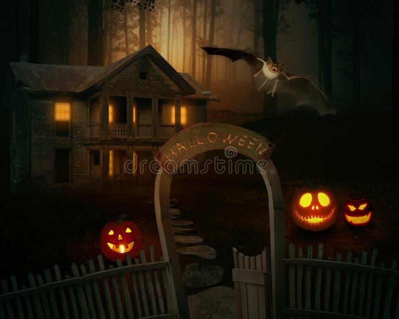 Ο τρομακτικός ανατριχιαστικός Jack O'Lantern σε ένα απόκοσμο κατώφλι μιας αγροικίας στοκ εικόνα