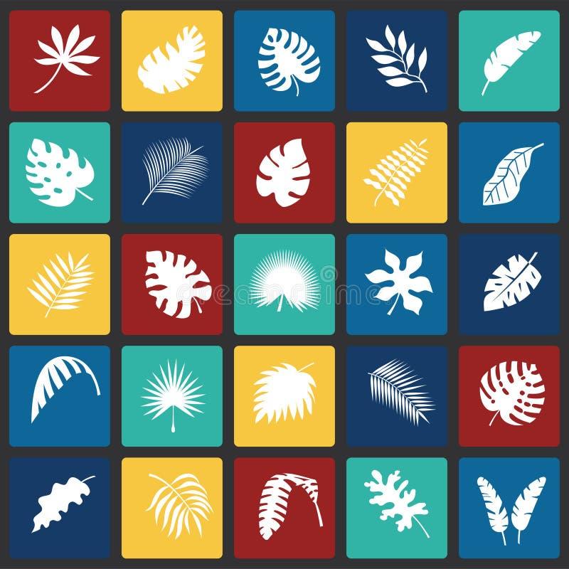 Ο τροπικός κύκλος βγάζει φύλλα τα εικονίδια που τίθενται στο υπόβαθρο τετραγώνων χρώματος για το γραφικό και σχέδιο Ιστού, σύγχρο ελεύθερη απεικόνιση δικαιώματος