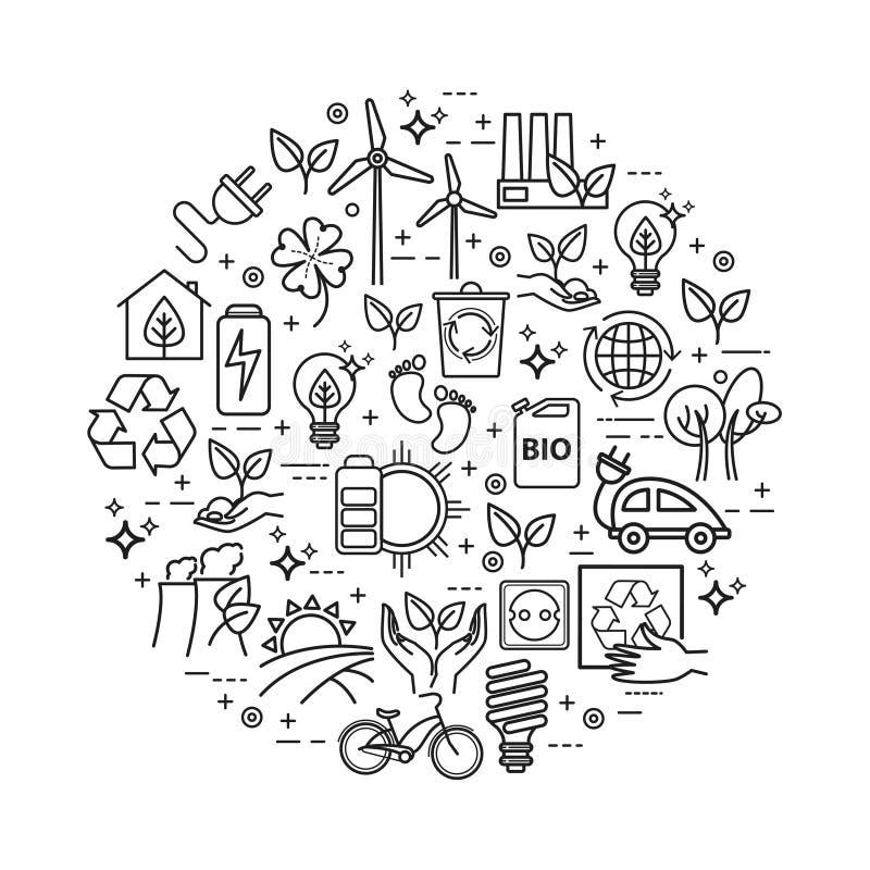 Ο τρόπος ζωής οικολογίας, πράσινη ενέργεια, ανακυκλώνει Διανυσματικά εικονίδια που τίθενται στο γραμμικό ύφος ελεύθερη απεικόνιση δικαιώματος