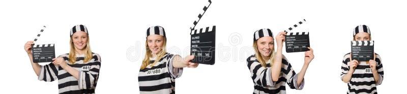 Ο τρόφιμος με clapper κινηματογράφων στοκ εικόνα με δικαίωμα ελεύθερης χρήσης