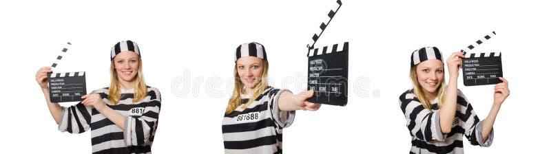 Ο τρόφιμος με clapper κινηματογράφων στοκ εικόνες