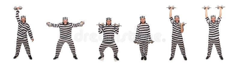 Ο τρόφιμος φυλακών με τους αλτήρες που απομονώνεται στο λευκό στοκ φωτογραφία με δικαίωμα ελεύθερης χρήσης
