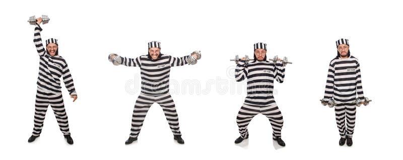 Ο τρόφιμος φυλακών με τους αλτήρες που απομονώνεται στο λευκό στοκ εικόνες με δικαίωμα ελεύθερης χρήσης