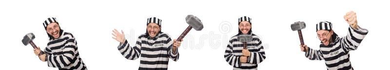 Ο τρόφιμος φυλακών με το σφυρί που απομονώνεται στο λευκό στοκ εικόνα