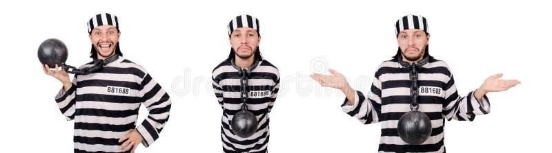 Ο τρόφιμος φυλακών που απομονώνεται στο άσπρο υπόβαθρο στοκ εικόνες με δικαίωμα ελεύθερης χρήσης