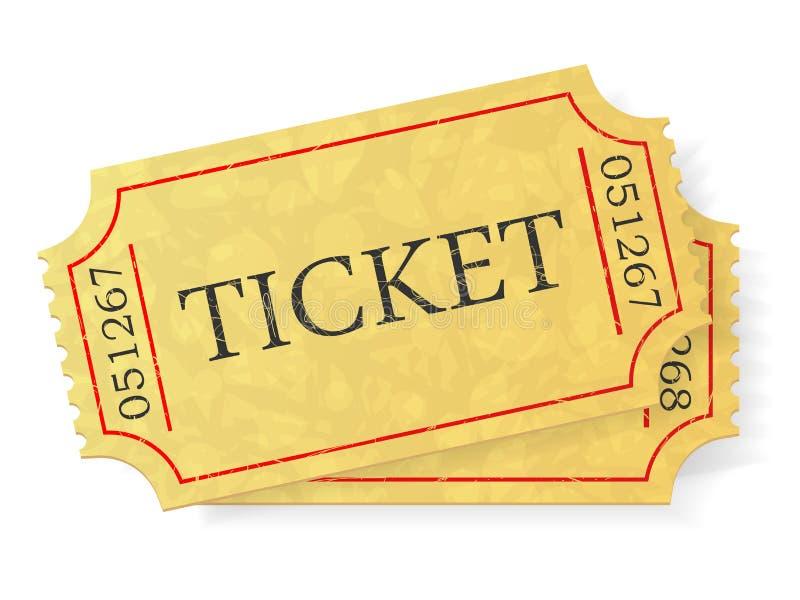 Ο τρύγος αναγνωρίζει ένα εισιτήριο που απομονώνεται στο άσπρο υπόβαθρο διανυσματική απεικόνιση