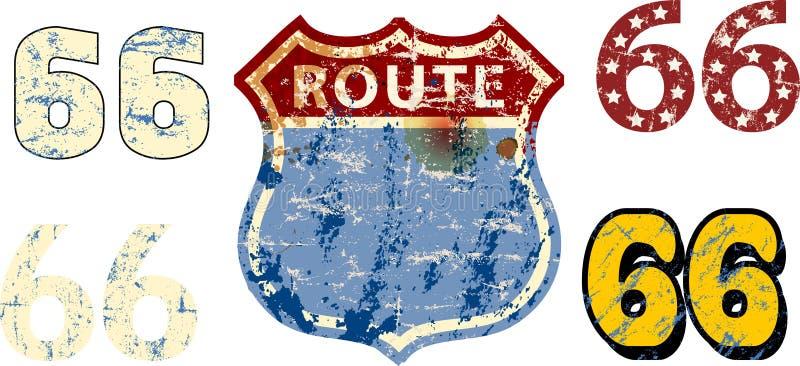 Ο τρύγος κτύπησε την κενή διαδρομή 66 χλεύη οδικών σημαδιών επάνω με τους διάφορους χαρακτήρες, αναδρομική βρώμικη διανυσματική α ελεύθερη απεικόνιση δικαιώματος