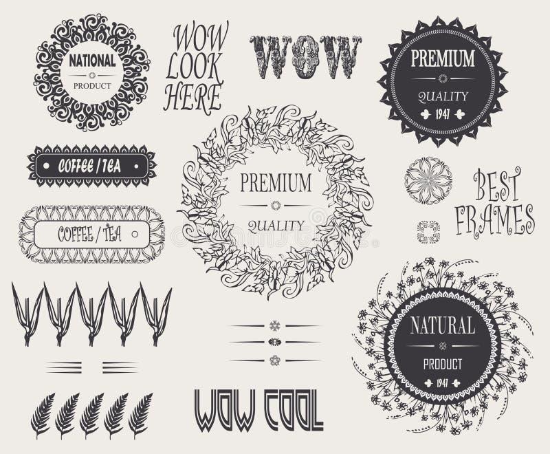 Ο τρύγος hipster σχεδιάζει τα στοιχεία, κομψά δύσκολα πλαίσια και φυσικό roduct σημαδιών, premiun ποιότητα, καφές, τσάι, wow διανυσματική απεικόνιση