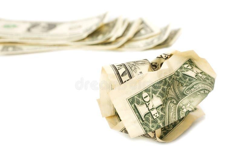 Ο τσαλακωμένος λογαριασμός ενός δολαρίου στο λευκό απομονώνει το υπόβαθρο στοκ φωτογραφία με δικαίωμα ελεύθερης χρήσης