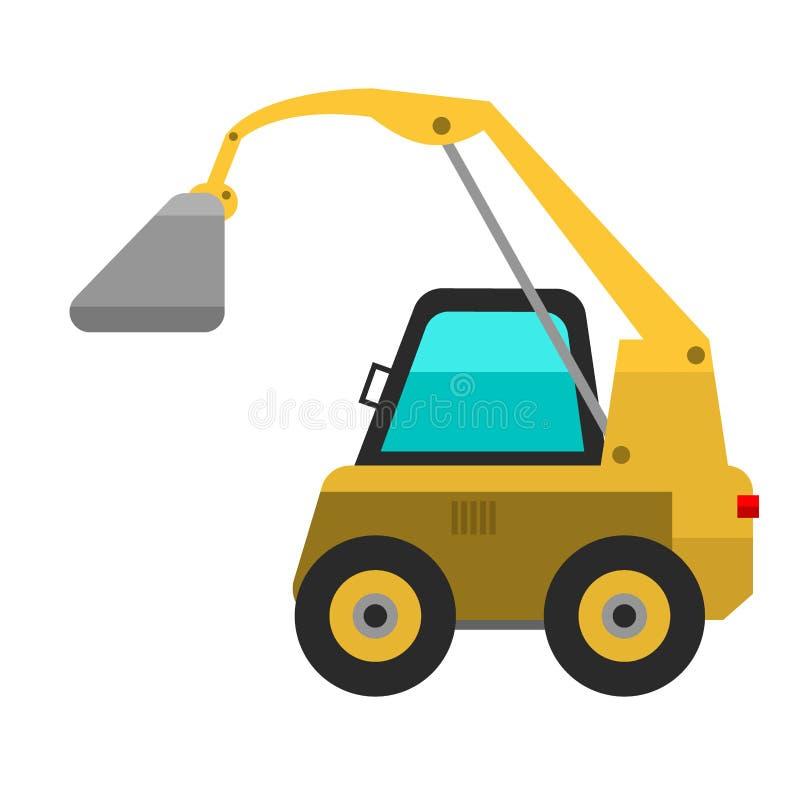 Ο τύπος γεωργικής μηχανής οχημάτων ή θεριστικών μηχανών συνδυάζει και κίτρινο εικονίδιο εκσκαφέων με τα εξαρτήματα για την κοπή ο απεικόνιση αποθεμάτων