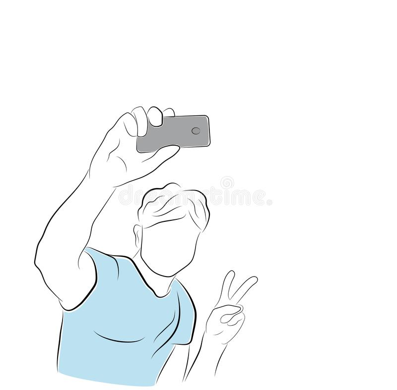 Ο τύπος κάνει μια φωτογραφία selfie Μανία Selfie! διανυσματική απεικόνιση ελεύθερη απεικόνιση δικαιώματος