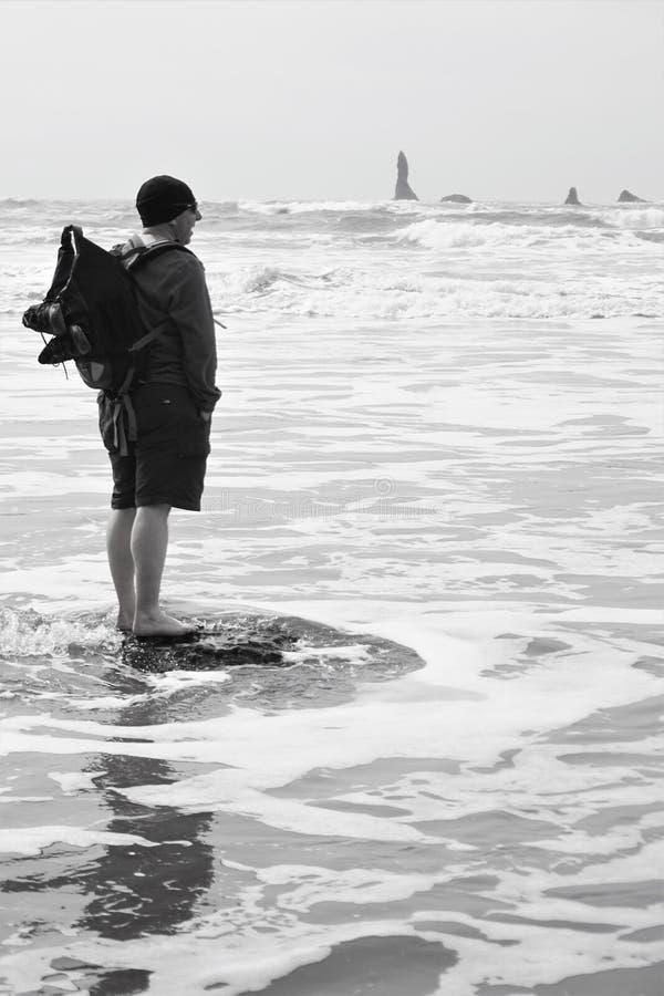 Ο τύπος τολμά στο wade στον κρύο Ειρηνικό Ωκεανό τον Απρίλιο στοκ φωτογραφίες