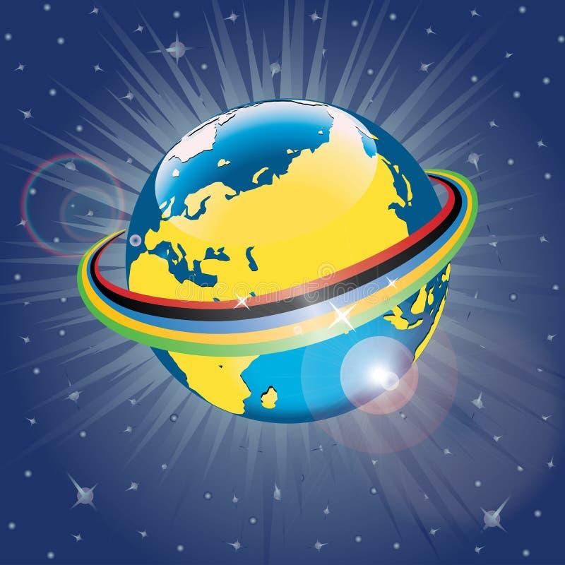 Ολυμπιακή ταινία γύρω από τον πλανήτη Earth.Vector Illus ελεύθερη απεικόνιση δικαιώματος