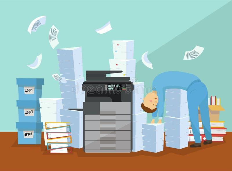 Ο υπάλληλος είναι κουρασμένος των εγγράφων γραφικής εργασίας και αντιγραφής Επαγγελματικός αντιγραφέας γραφείων, πολλών χρήσεων έ απεικόνιση αποθεμάτων