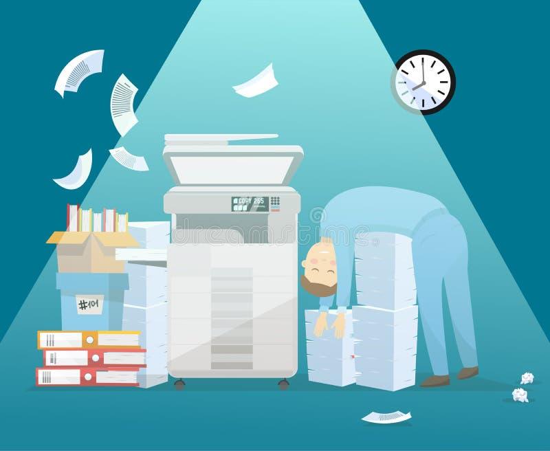Ο υπάλληλος κουράστηκε της γραφικής εργασίας και καθορίζει σε έναν μεγάλο σωρό του εγγράφου για να στηριχτεί το βράδυ στην εργασί απεικόνιση αποθεμάτων