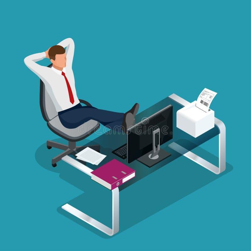 Ο υπάλληλος γραφείων στηρίζεται την επίπεδη τρισδιάστατη διανυσματική isometric απεικόνιση απεικόνιση αποθεμάτων