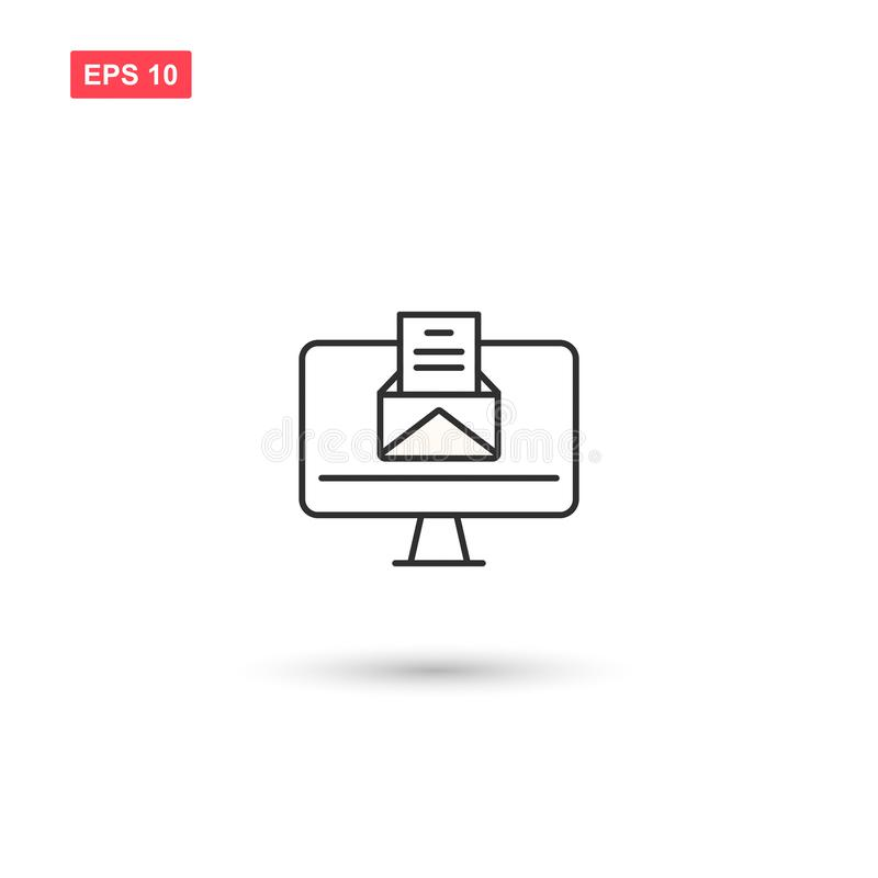 Ο υπολογιστής με το εικονίδιο μηνυμάτων vectoe απομόνωσε 7 ελεύθερη απεικόνιση δικαιώματος