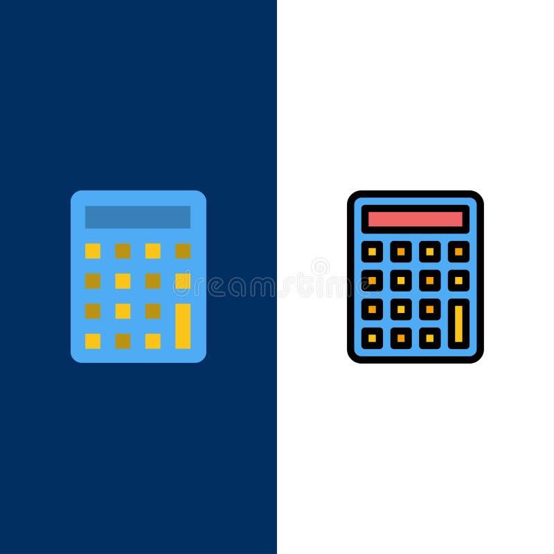 Ο υπολογιστής, υπολογίζει, εικονίδια εκπαίδευσης Επίπεδος και γραμμή γέμισε το καθορισμένο διανυσματικό μπλε υπόβαθρο εικονιδίων διανυσματική απεικόνιση