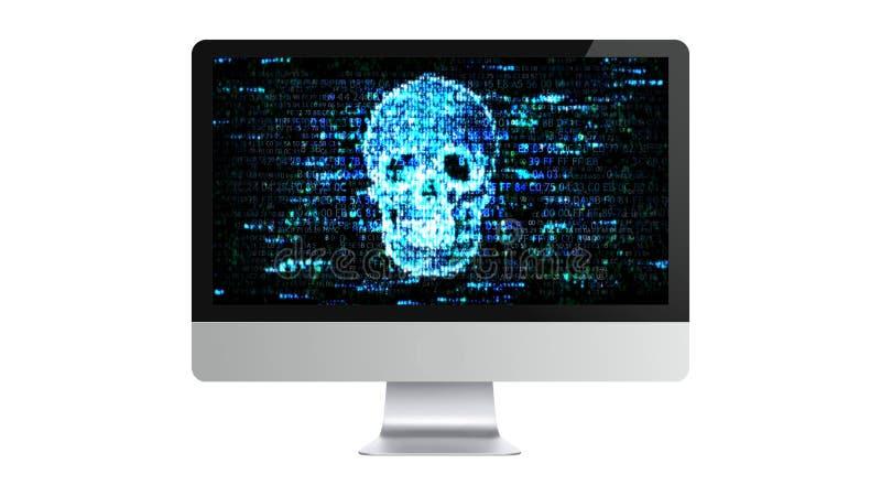 Ο υπολογιστής είναι σπασμένος Εμπιστευτική πληροφορία χάραξης Χάκερ στο διαδίκτυο ελεύθερη απεικόνιση δικαιώματος