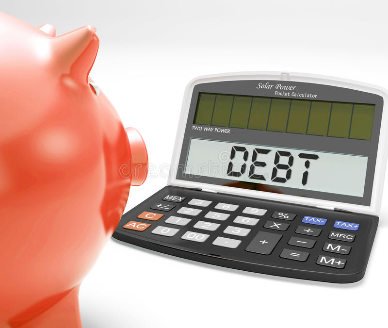 Ο υπολογιστής χρέους παρουσιάζει τα πιστωτική καθυστερούμενα ή ευθύνη ελεύθερη απεικόνιση δικαιώματος