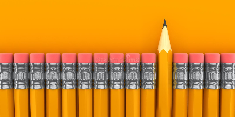 Ο υπόλοιπος κόσμος των γομών με έναν ενιαίο διαχωρισμό ακόνισε το κίτρινο μολύβι απεικόνιση αποθεμάτων
