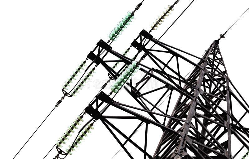 Ο υψηλής τάσεως πύργος γραμμών απομονώνει στο λευκό στοκ εικόνες με δικαίωμα ελεύθερης χρήσης