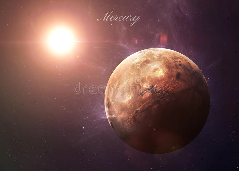 Ο υδράργυρος από τη διαστημική παρουσίαση όλη αυτοί ομορφιά στοκ φωτογραφία