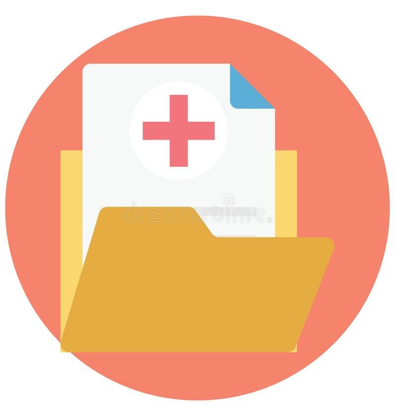 ο φάκελλος, ιατρικός φάκελλος, απομόνωσε το διανυσματικό εικονίδιο που μπορεί να τροποποιηθεί εύκολα ή να εκδώσει το φάκελλο, ιατ απεικόνιση αποθεμάτων