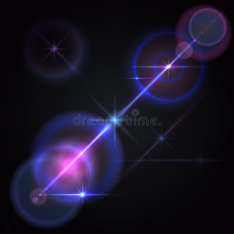 Ο φακός καίγεται τα φω'τα αστεριών, πυράκτωση απεικόνιση αποθεμάτων