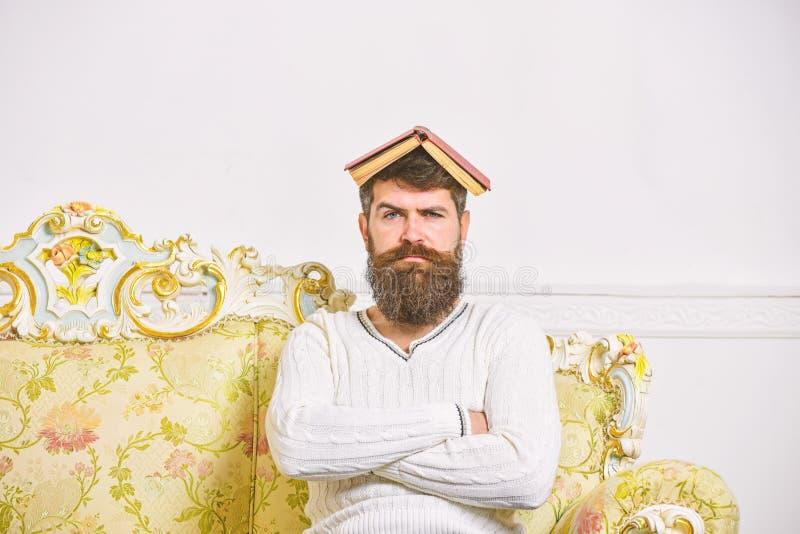 Ο φαλλοκράτης κάθεται με το ανοικτό βιβλίο στο κεφάλι, όπως τη στέγη Ο τύπος, δάσκαλος overdid με τη διδασκαλία, έγινε τρελλός κα στοκ εικόνα με δικαίωμα ελεύθερης χρήσης