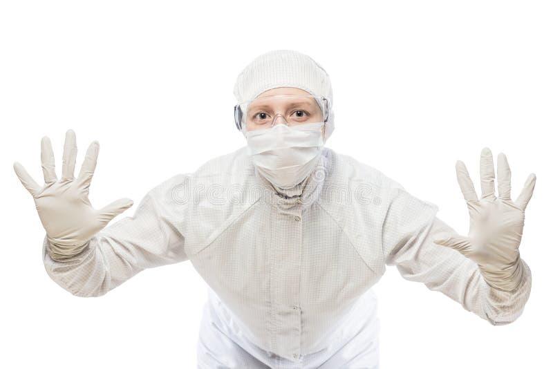ο φαρμακοποιός ενδιαφερόμενος αποτρέπει τη μετάβαση της μολυσμένης ζώνης στοκ εικόνα