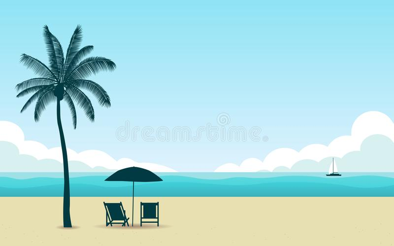 Ο φοίνικας και η ομπρέλα σκιαγραφιών με την καρέκλα στην παραλία το μεσημέρι με τον μπλε ουρανό χρώματος στο επίπεδο εικονίδιο σχ διανυσματική απεικόνιση