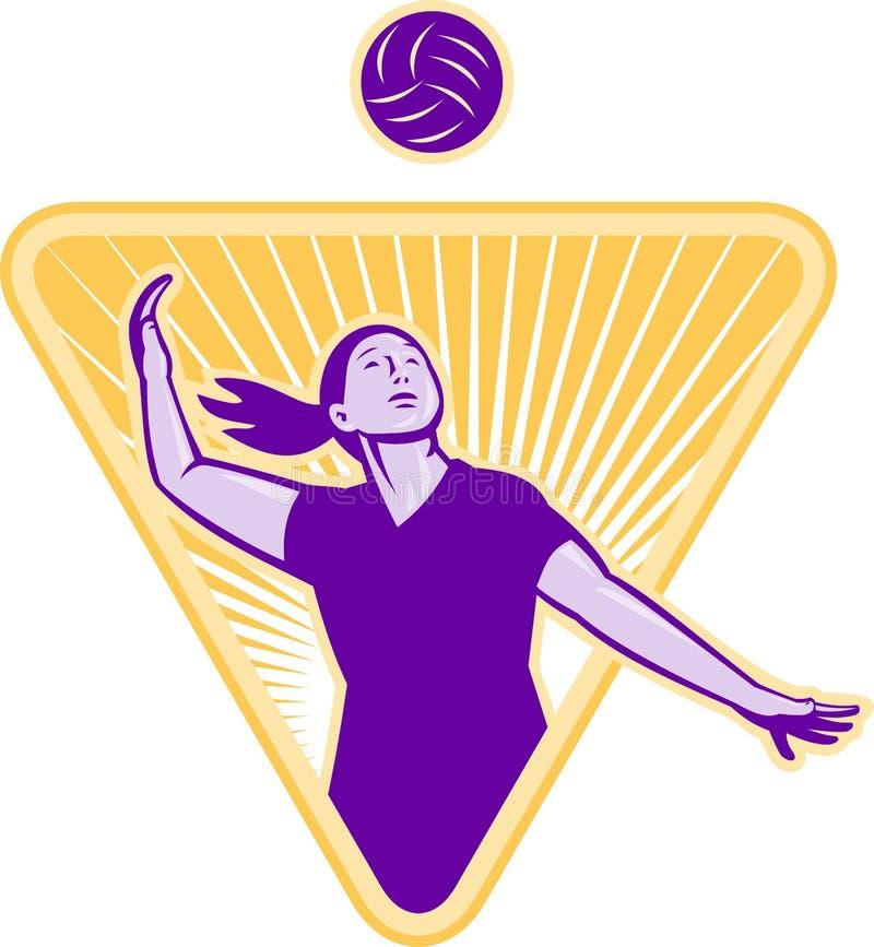 Ο φορέας πετοσφαίρισης εξυπηρετεί το μέτωπο σφαιρών διανυσματική απεικόνιση