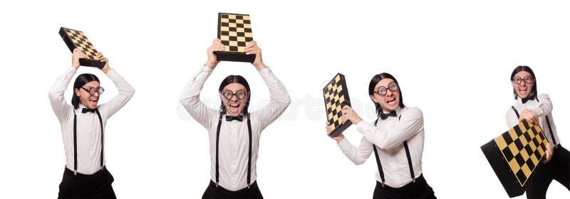 Ο φορέας σκακιού nerd που απομονώνεται στο λευκό στοκ εικόνες
