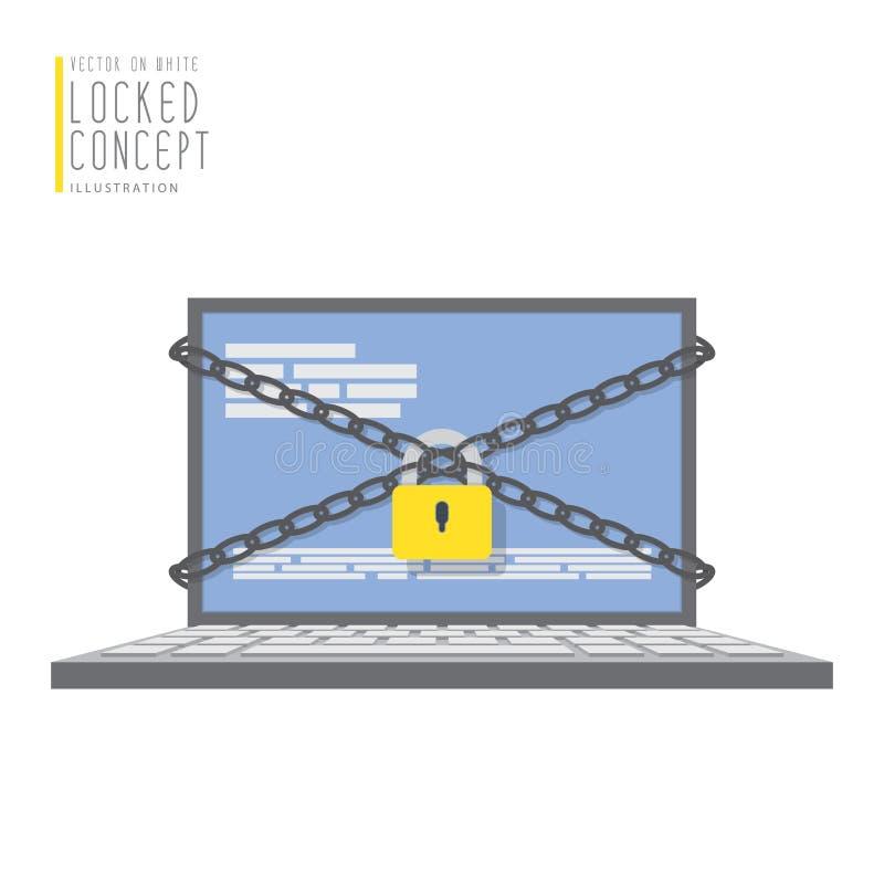 Ο φορητός προσωπικός υπολογιστής είναι συνδεδεμένος με τις αλυσίδες και κλειδωμένος με ένα λουκέτο διανυσματική απεικόνιση
